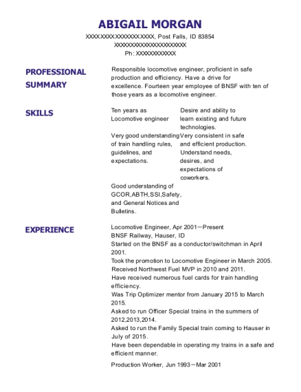 union pacific locomotive engineer resume sample