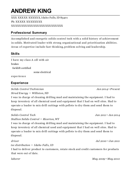 Solids Control Technician , Motorman. Customize Resume · View Resume