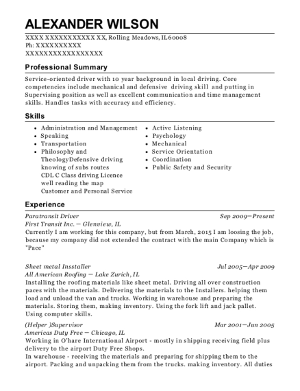 rts access paratransit driver resume sample rochester new york