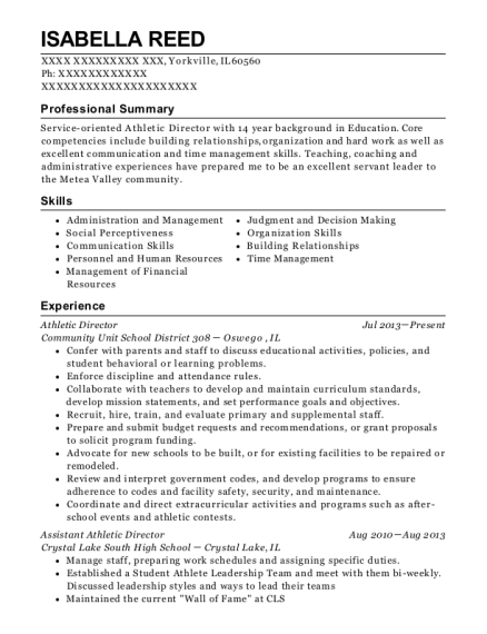 view resume athletic director - Athletic Director Resume