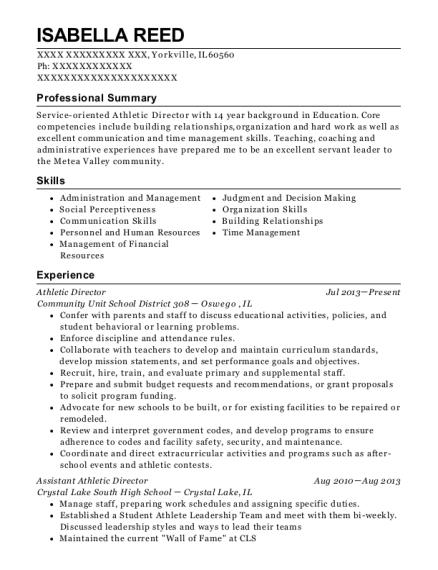 community unit school district 308 athletic director resume sample