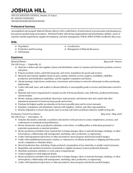 best material planner resumes resumehelp