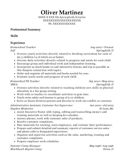 oliver martinez - Camp Manager Sample Resume