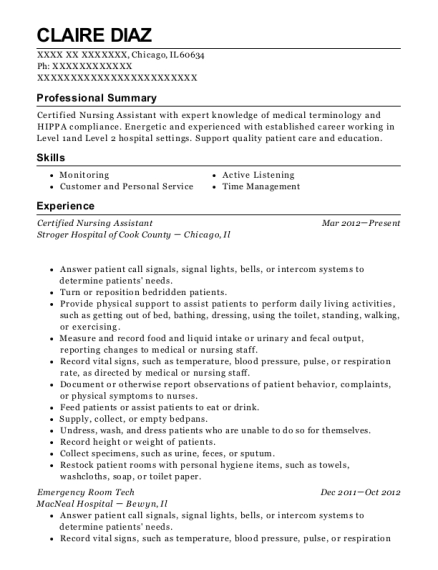 best certified nursing assistant resumes in chicago illinois