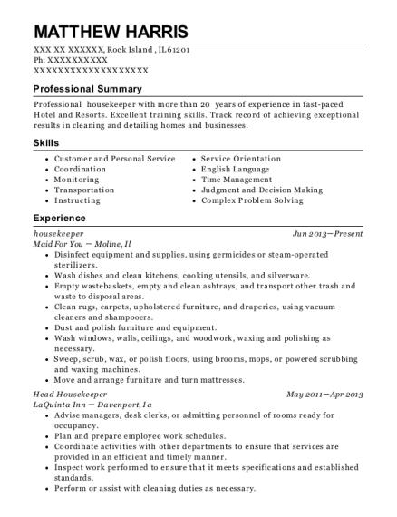 View Resume. Housekeeper
