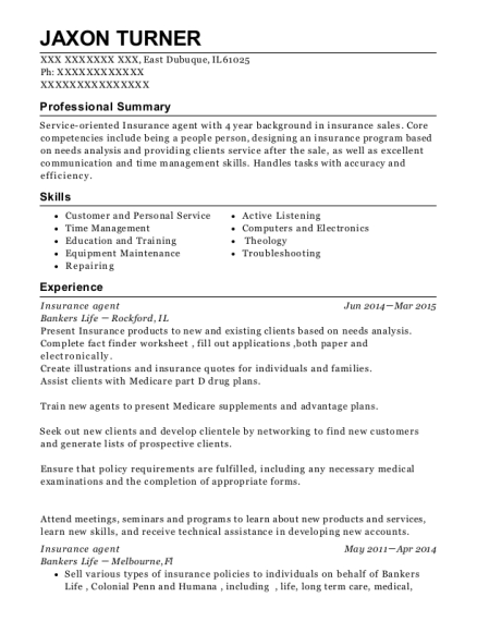 Jaxon Turner  Life Insurance Agent Resume