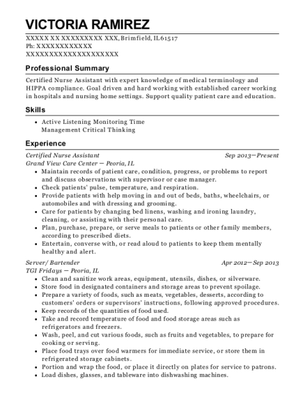victoria ramirez - Server Bartender Resume
