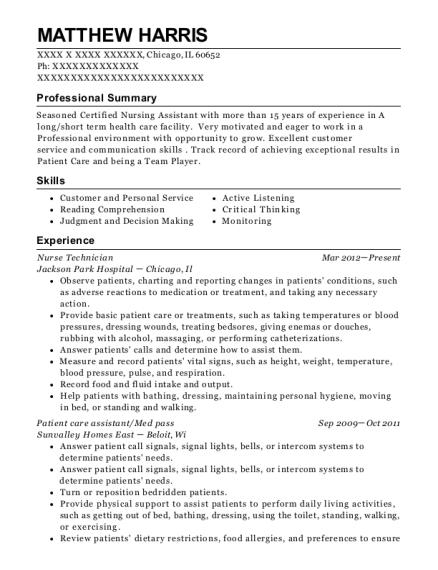 View Resume Nurse Technician