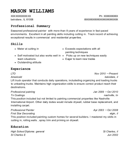 Self Employed Professional Painter Resume Sample Fort Collins