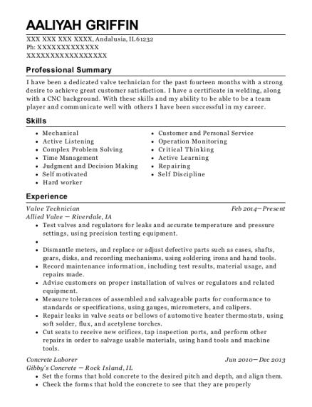 Best Valve Technician Resumes | ResumeHelp