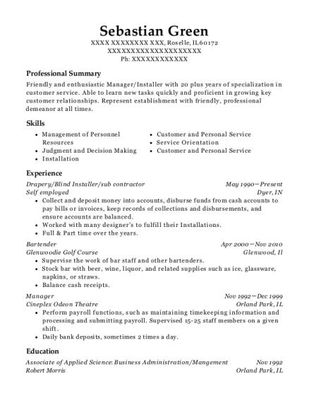 self employed drapery resume sample roselle illinois resumehelp