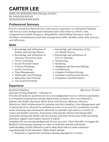 Best Resident Chaplain Resumes | ResumeHelp