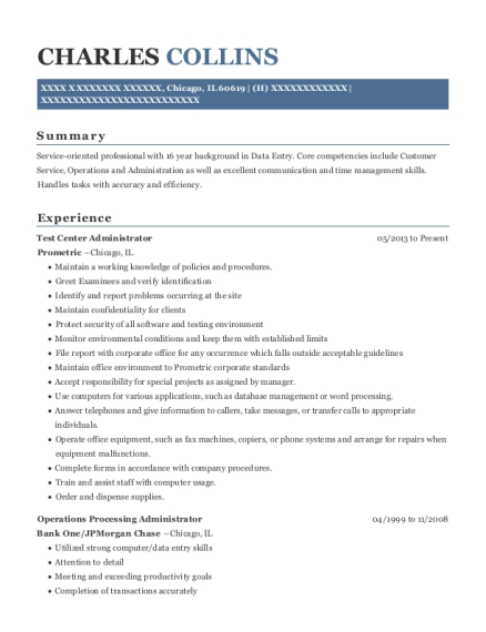 prometric testing center test center administrator resume