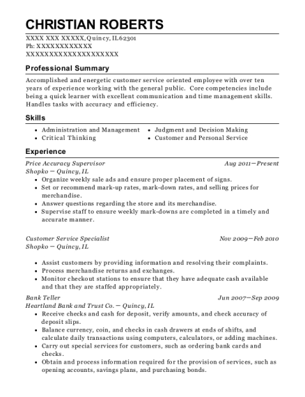 Best Price Accuracy Supervisor Resumes ResumeHelp