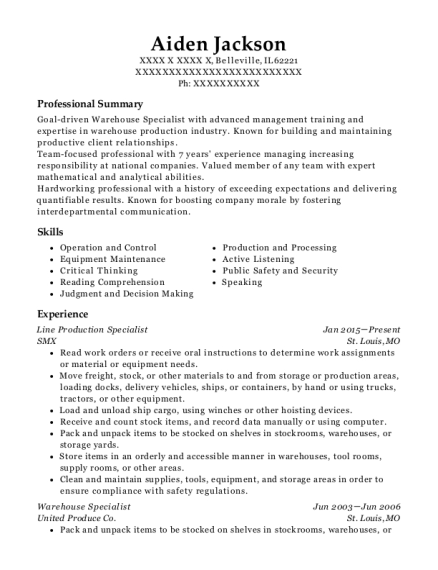 view resume - Warehouse Specialist