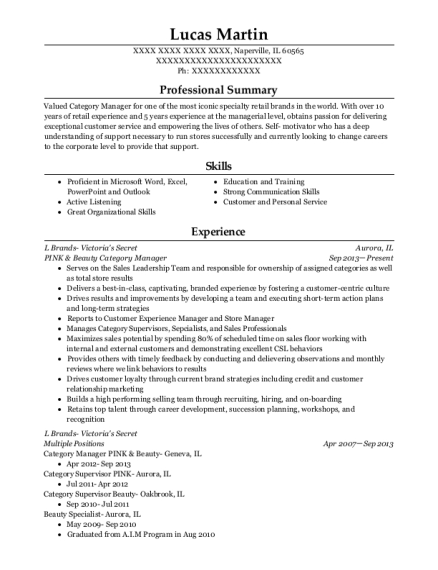 Best Pink & Beauty Category Manager Resumes | ResumeHelp