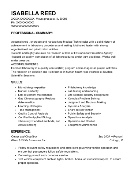 Black & White Limousine Inc Owner And Chauffeur Resume Sample ...