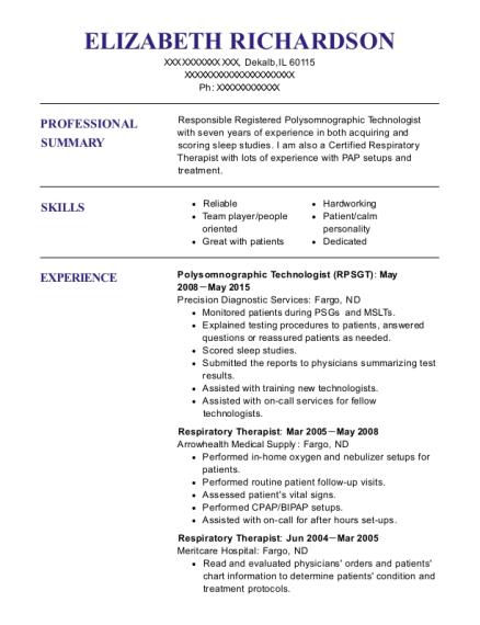 precision diagnostic services polysomnographic technologist resume