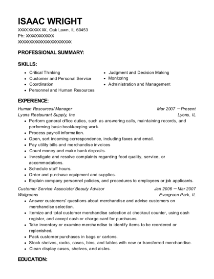 isaac wright - Beauty Advisor Resume
