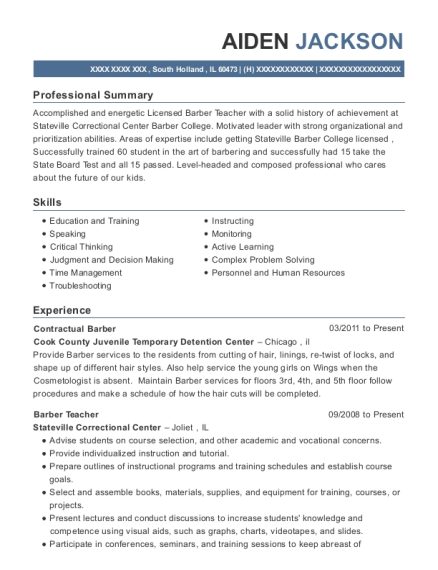 View Resume Contractual Barber