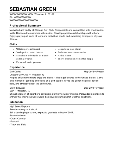newport country club golf caddy resume sample