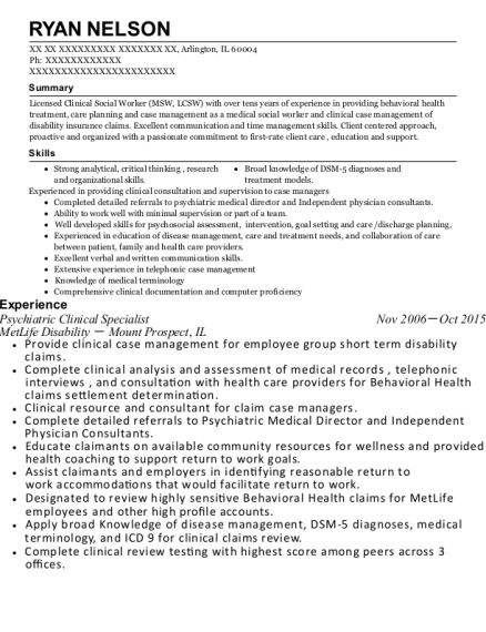 Psychiatric Clinical Specialist , EAP Counselor. Customize Resume · View  Resume