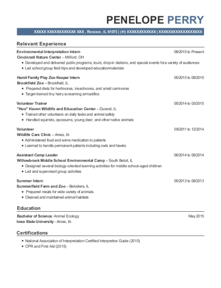 penelope perry - Zoo Internship Resume Examples