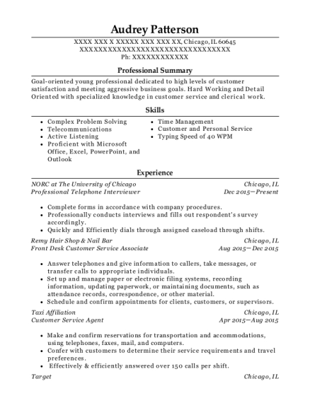 beautiful telephone interviewer resume pattern example
