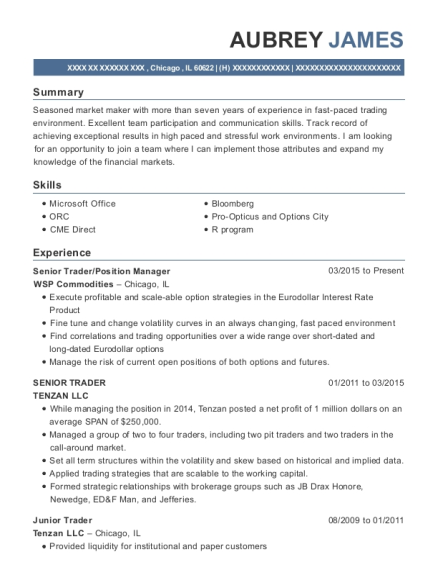 wsp commodities senior trader position manager resume sample