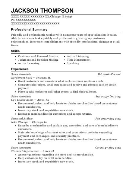 nike company store seasonal athlete resume sample