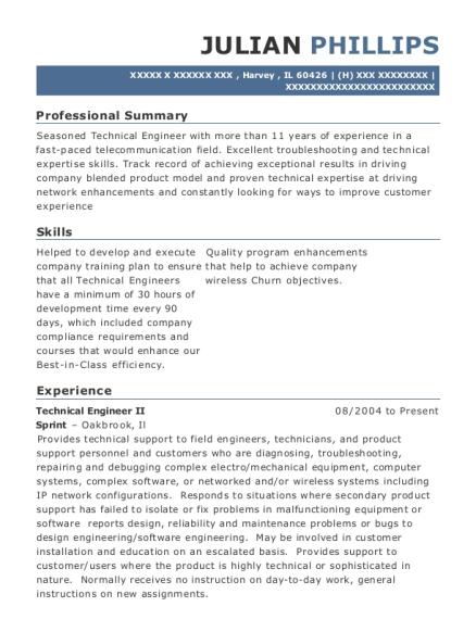 Sprint Technical Engineer Ii Resume Sample - Harvey Illinois ...