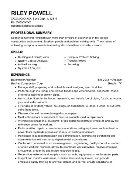Best Boilermaker Foreman Resumes | ResumeHelp