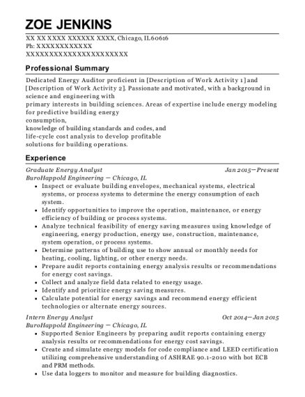 Best Graduate Energy Analyst Resumes | ResumeHelp