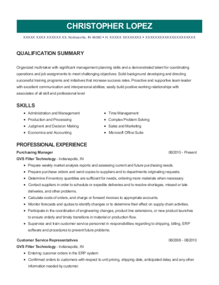 Rider Wash Systems Purchasing Manager Resume Sample - San Antonio ...