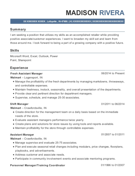 walmart fresh assistant manager resume sample lafayette indiana