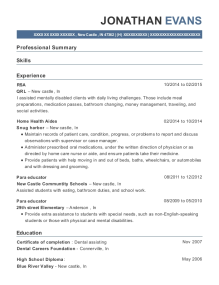 jonathan evans - Paraeducator Resume Sample