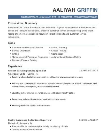 View Resume Advisor Marketing Service Specialist