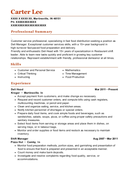 View Resume Deli Head
