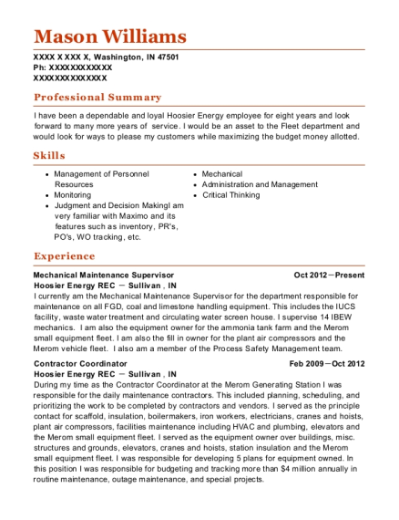 Hoosier Energy Rec Mechanical Maintenance Supervisor Resume Sample ...