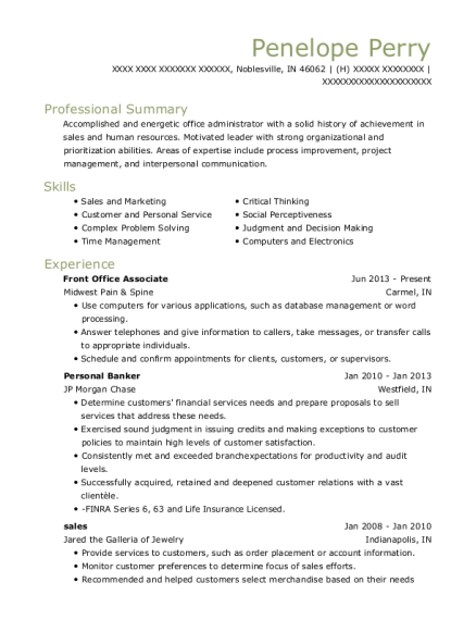 Midwest Pain Spine Front Office Associate Resume Sample