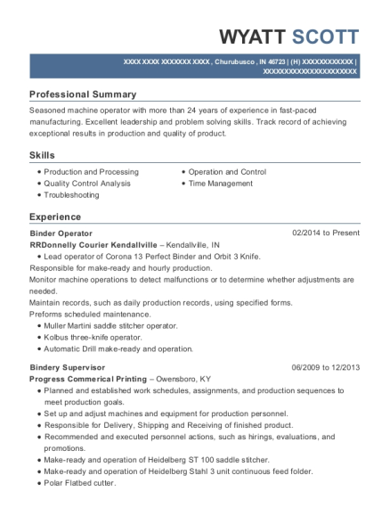 Rrdonnelly Courier Kendallville Binder Operator Resume Sample