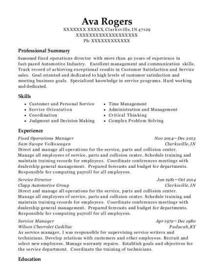 sam swope volkswagen fixed operations manager resume sample - Fixed Operations Director