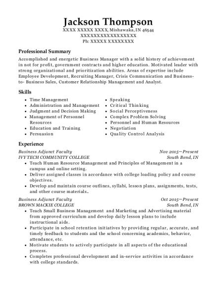 Best Business Adjunct Faculty Resumes Resumehelp
