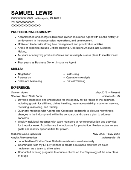 Shannon Reed State Farm Owner - Agent Resume Sample - Indianapolis ...