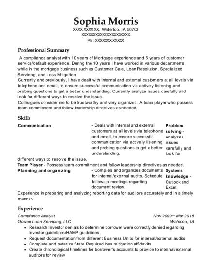 ocwen loan servicing compliance analyst resume sample waterloo