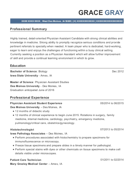 physician assistant student resumes