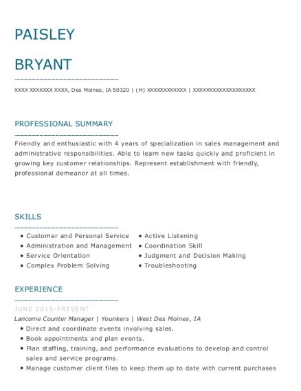 paisley bryant - Lancome Beauty Advisor Sample Resume