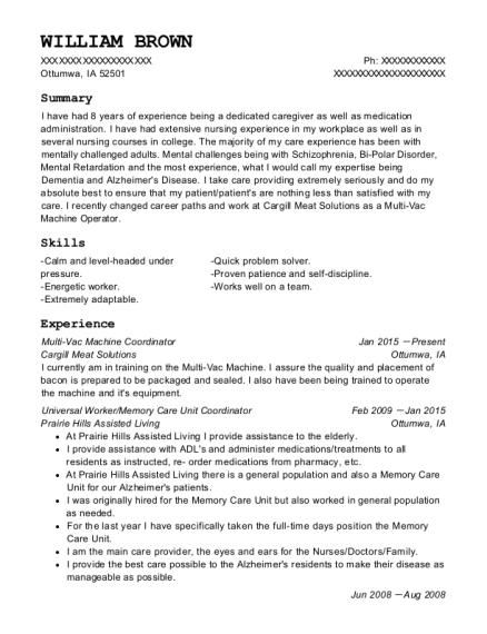 Best Universal Worker/memory Care Unit Coordinator Resumes | ResumeHelp