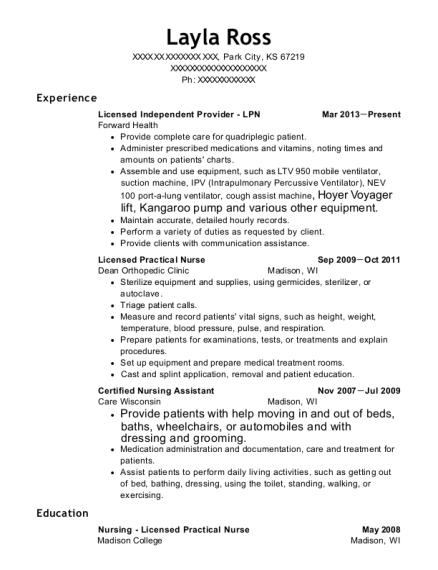 self employed independent provider resume sample