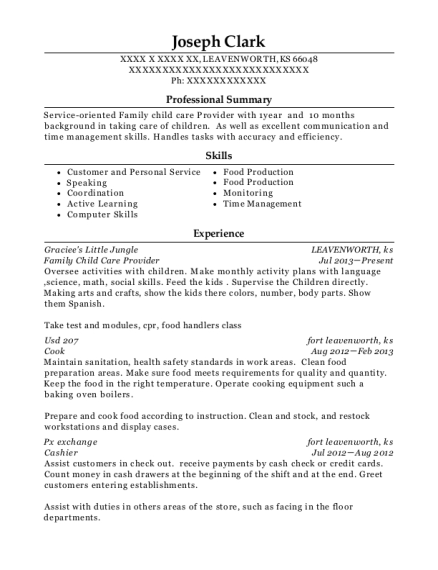 graciees little jungle family child care provider resume sample